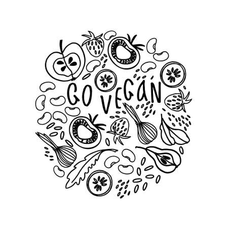 Circular ornament with fruit, vegetables, beans, greens and veganism slogan. Black and white illustration for coloring book. Veganism concept