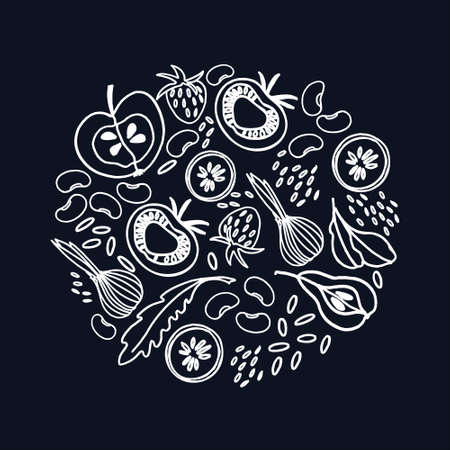 Circular ornament with fruit, vegetables, beans, greens. Hand drawn, white on black illustration. Healthy food, veganism concepts
