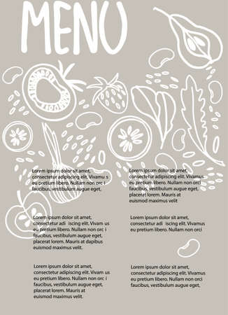 Vegan Menu design template with place for your text. Hand drawn decoration with fruit, vegetables, beans, greens on warm gray background Ilustracja