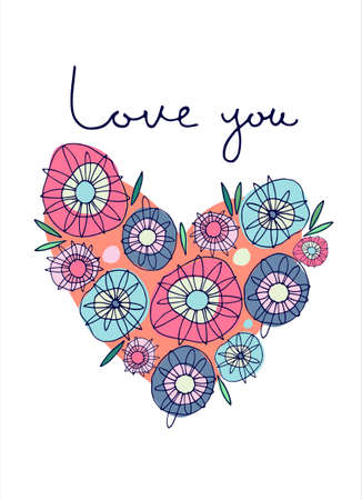 Greeting card design in late 60s style. Heart composed of abstract flowers. Hand-lettered Love You phrase. Valentines Day, Mothers Day, Wedding day concept. Romance concept Ilustracja