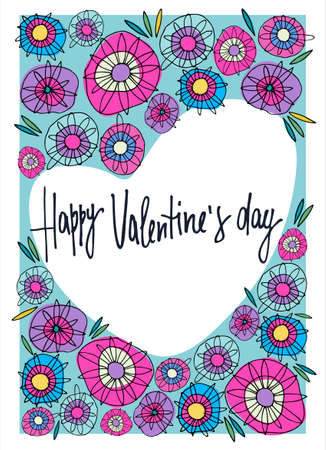 Valentines Day greeting card design with delicate floral decoration. Multicolored abstract flowers, heart-shaped form, hand lettering. Isolated on white