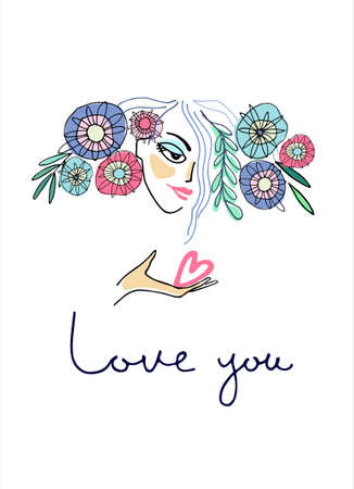 Greeting card to sweetheart. Girl with flowers in the hair and a heart on a palm. Hand-lettered Love You phrase. Valentines Day, Wedding day, Mothers Day concept. Romance concept 向量圖像