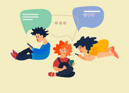 Children using phones to chat with each other. Vector illustration in flat style. Social networking concept. Messaging apps concept. Smartphone addiction concept Ilustracja