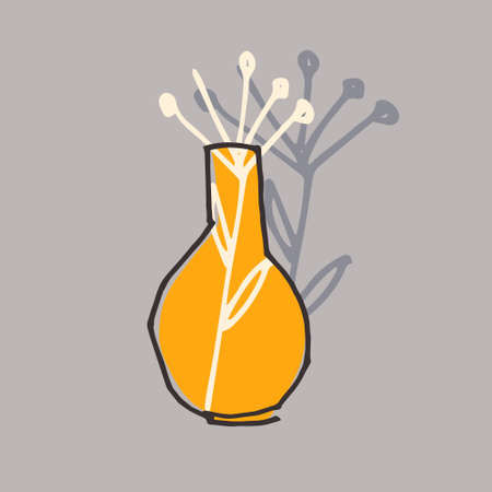 Vase vector illustration. Universal artistic design for poster, card, cover. Print for textile