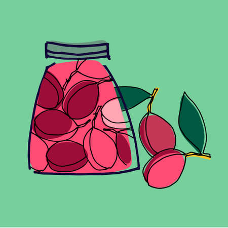 Jars with stewed plums vector illustration. Healthy, organic foods, veganism theme. Home canning theme. Isolated on blue Ilustracja