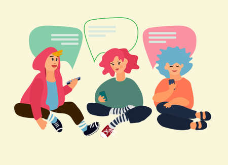 Children using phones to chat with each other. Vector illustration in flat style. Social networking concept. Messaging apps concept. Smartphone addiction concept Иллюстрация