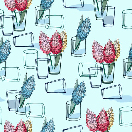 Seamless pattern with hand drawn hyacinth flowers on light blue background for surface design and other design projects