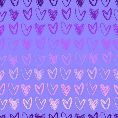 Seamless pattern. Rows of hand drawn hearts for gift wrap and other design projects. Luminous lilac color palette. Valentines Day concept, romance concept
