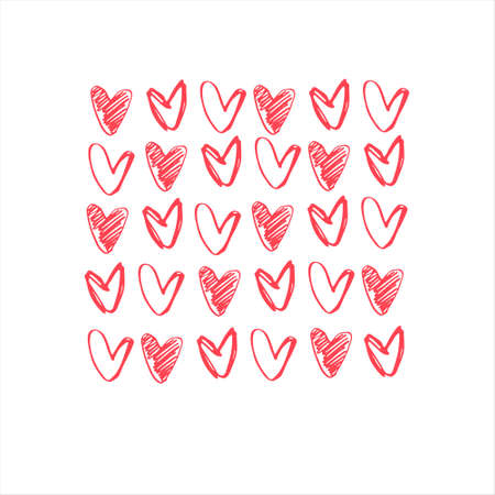 Square background with rows of hand drawn red hearts, empty and shaded outlines on white background, for gift wrap and other design projects. Valentines Day concept, romance concept