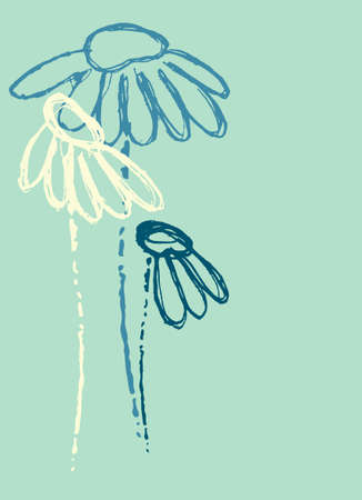 Background with hand drawn Echinacea flowers in trendy style. Template for a greeting card, social media stories, other design projects Ilustrace