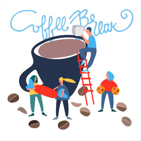 Coffee Break funny sign, sticker. Small people making coffee vector illustration in flat style. Isolated on the white