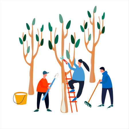People doing spring works in garden, orchard. Tree pruning, trunk whitening, garden clearing with rake. Set of vector illustrations in flat style Ilustracja