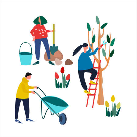 People doing spring gardening works. Pruning trees, planting seedling, clearing. Set of vector illustrations in flat style Ilustracja