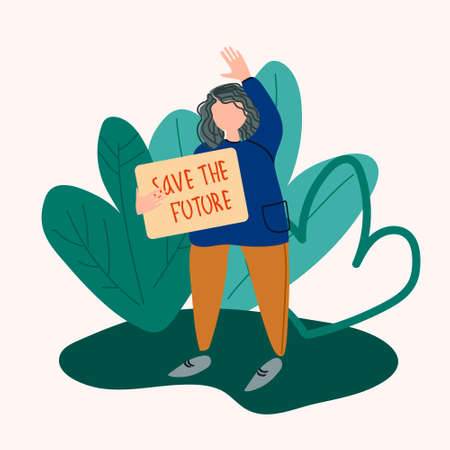 School Strike for the Climate concept. Gird holding sign that reads Save the Future. Vector illustration in flat style
