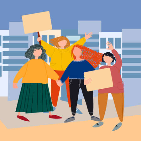 Women holding placards, picketing. Vector illustration in flat style. Protest concept. Feminism concept. Womens day concept