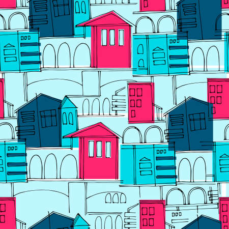 Seamless pattern, colorful cityscape with historical buildings and archways for surface design and other design projects