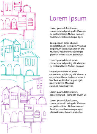 Vertical background with old town cityscapes and place for your text on the white. Perfect for touristic ad, leaflet, booklet, brochure, presentation