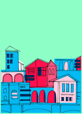Vertical background with colorful old town cityscape on the green. Perfect for touristic ad, leaflet, booklet, brochure, cover, presentation Ilustracja