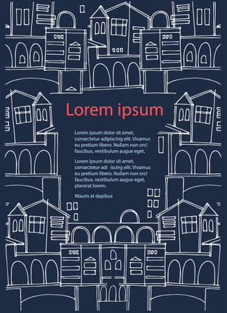 Vertical frame with old town cityscapes and place for your text on dark blue. Perfect background for touristic ad, leaflet, booklet, brochure, presentation