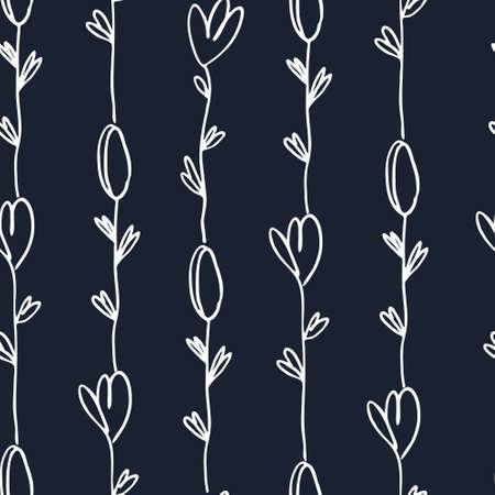 Striped seamless pattern with hand drawn tulip flowers on black background. For surface design, fashion industry and other design projects