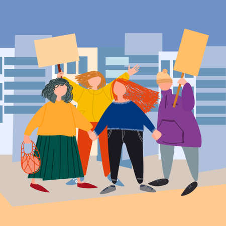 People holding signs, picketing. Vector illustration in flat style. Protest concept 向量圖像