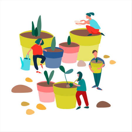 People planting seedlings vector illustration in flat style. Spring agricultural work concept. Plug plants sales advertisement Stock Illustratie