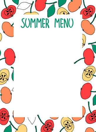 Summer Menu design template with place for your text. Hand-lettered title. Hand drawn frame decoration with apples. White background