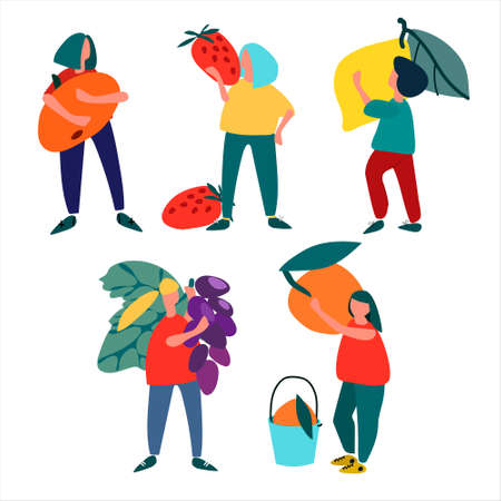Women with fuit. Set of vector illustration in abstract flat style. Harvesting concept. Pick-your-own concept. Fresh fruit concept. Outdoor activity concept