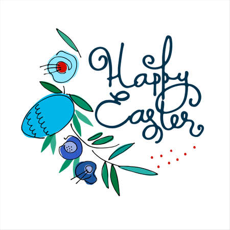 Happy Easter holiday design with hand-lettered greetings, flowers and egg. Isolated on white background
