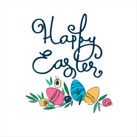 Happy Easter holiday design with hand-lettered greetings, flowers and eggs. Isolated on white background