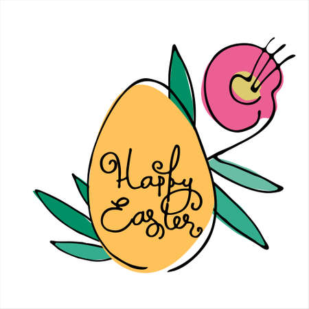 Happy Easter creative holiday design with hand-lettered greetings inside an egg. Isolated on white background