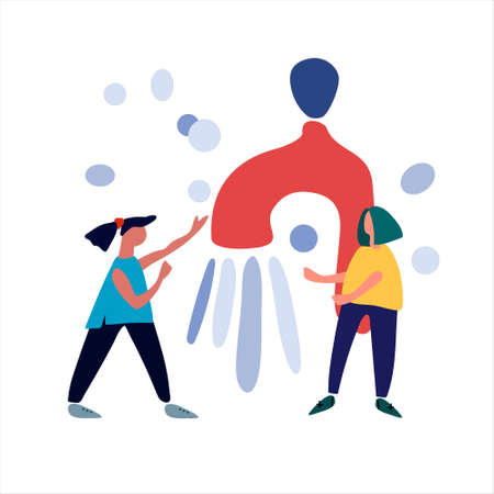 Women beside a giant turned-on faucet. Vector illustration in abstract flat style. Hygiene during coronavirus outbreak concept. Covid-19 awareness concept.