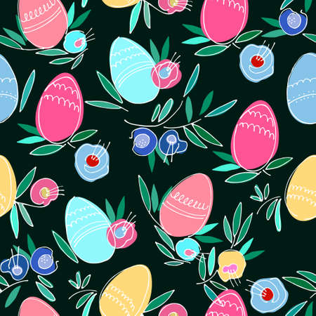 Seamless pattern on Easter theme with colored eggs, flowers, leaves on black background 向量圖像