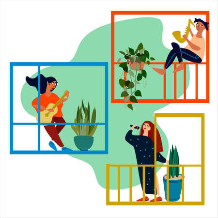 People making musical performance from their balconies. Neighbourhood concert. Social distancing during COVID-19 pandemic. Vector illustration in flat style