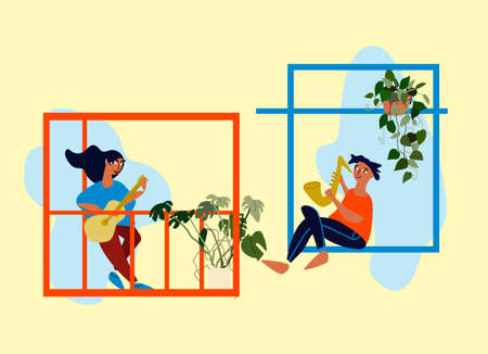 People making musical performance from their windows and balconies. Neighbourhood concert. Social distancing during COVID-19 pandemic. Vector illustration in flat style