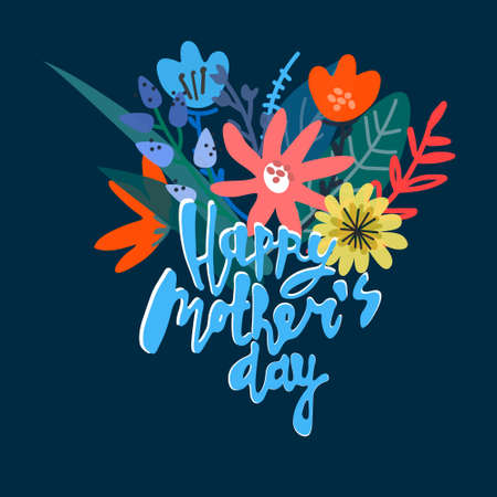 Happy Mothers Day greeting card design. Elegant floral bouquet and hand-lettered greeting phrase. Isolated on dark background Illustration