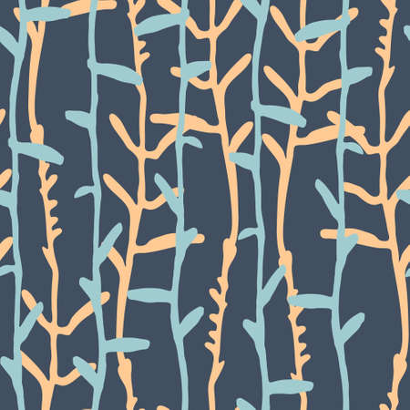 Seamless pattern with pinstripes of hand drawn herbs for surface design, textile, fashion industry and other design projects. Blue background