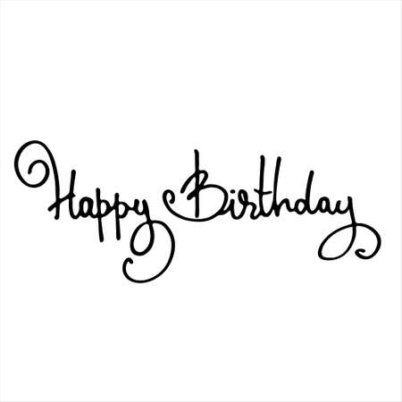 Elegant Happy Birthday hand-lettered greeting phrase. Isolated on white background