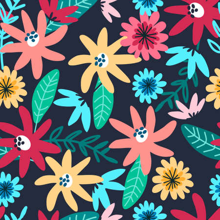 Seamless pattern with field flowers for textile, fashion design. Vibrant colors, dark blue background. Night meadow concept Çizim