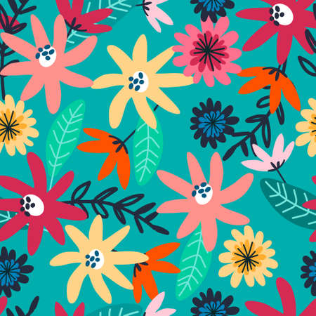 Seamless pattern with field flowers for textile, fashion design. Vibrant colors, turquoise background. Night meadow concept Çizim