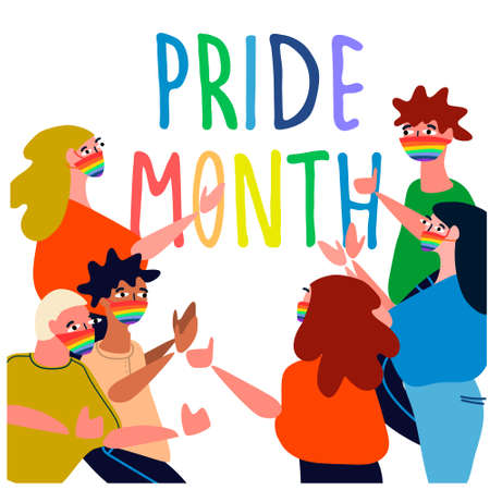 Pride Month concept. Cheerful people celebrating pride parade. Vector illustration in flat style. Sex minorities self-affirmation concept.