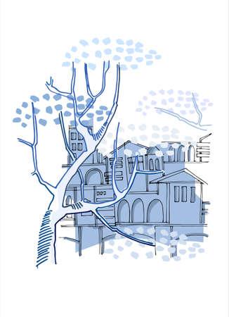 Historical buildings behind big trees. Mini art print. Vertical background. Blue on white Illusztráció