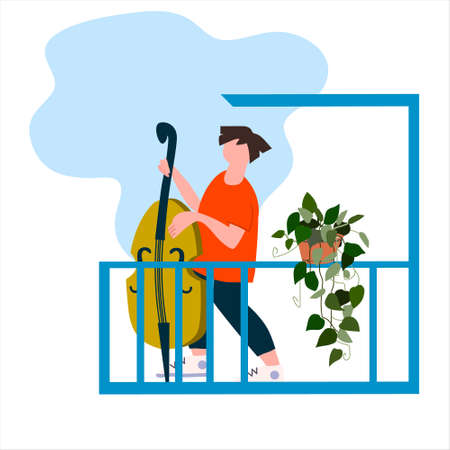 Young man playing double bass on the balcony. Neighbourhood concert. Creative activitiy concept. Social distancing during COVID-19 pandemic concept. Vector illustration in flat style
