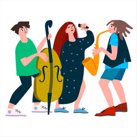 Saxophone, double bass and vocal trio performance. Jazz band of female singer, sax and contrabass on the concert. Vector illustration in flat style. Isolated on white background