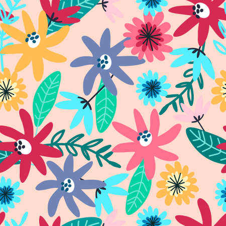 Seamless pattern with field flowers for textile, fashion design. Vibrant colors, pink background. Night meadow concept Imagens - 148951760