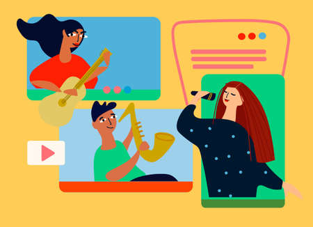 Musical band making online performance using video conferencing platform. Home concert online. Video conferencing software ad. Social distancing concept. Vector illustration in flat style
