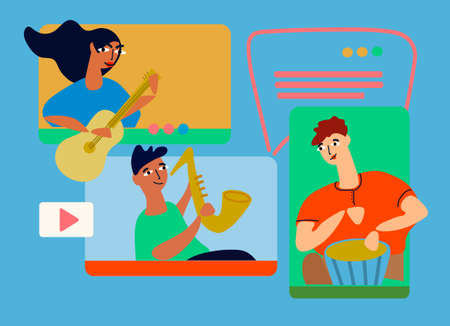Musical band making online performance using video conferencing platform. Home concert online. Video conferencing software ad. Social distancing concept. Vector illustration in flat style Imagens - 148951761