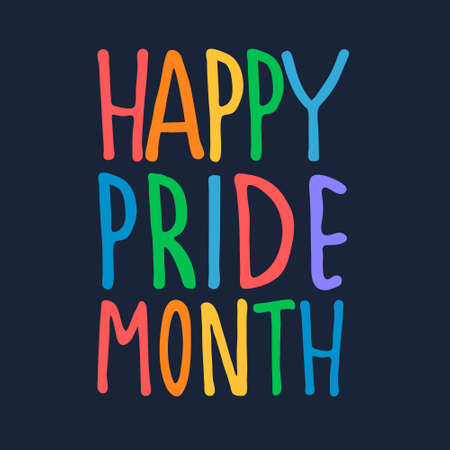 Happy Pride Month greeting design. Hand-lettered rainbow-colored text on dark blue background. Sexual diversity celebration concept Imagens - 148951762