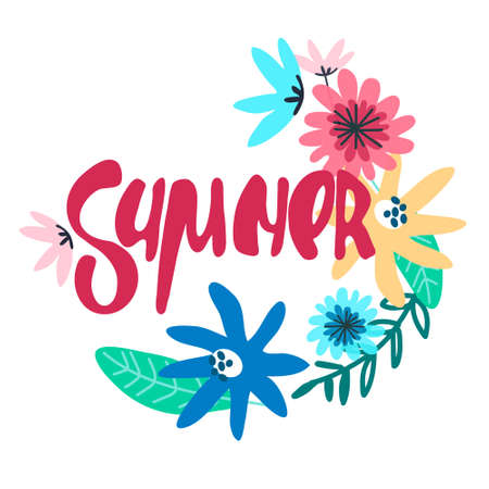 Summer seasonal background. Hand lettering with minimalistic floral decoration. Handwritten text decorated with field flowers Imagens - 148951925