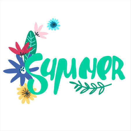Summer seasonal background. Hand lettering with minimalistic floral decoration. Handwritten text decorated with field flowers